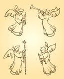 Änglar som tillber uppsättningen stock illustrationer