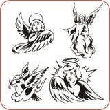 Änglar - vektoruppsättning. royaltyfri illustrationer