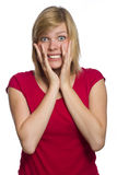 Ängstlichfrau getrennt auf Weiß Stockfoto