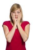 Ängstlichfrau getrennt auf Weiß Lizenzfreie Stockfotografie