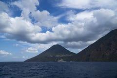 Äolische Insel Italiens Sizilien der Saline lizenzfreies stockbild