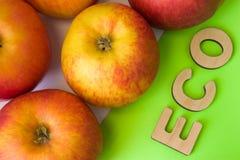 Äpfel als ECO-Lebensmittel Äpfel sind auf weißem Hintergrund mit Text eco von hölzernen Buchstaben auf Grün Beispiel des stützbar stockfotografie