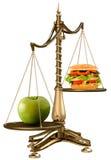 Äpfel anstelle von den Hamburgern Lizenzfreie Stockfotos