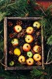 Äpfel auf einem dunklen hölzernen Hintergrund tonen Süße Äpfel auf hölzernem Lizenzfreie Stockfotografie