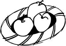 Äpfel auf einer Mehrlagenplatte Lizenzfreie Stockfotos