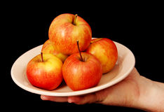 Äpfel auf einer Platte. Lizenzfreie Stockbilder
