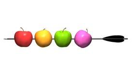 Äpfel auf Pfeil. Stockfotografie