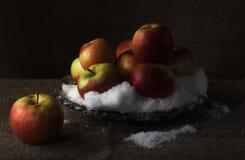 Äpfel auf Schnee. Lizenzfreie Stockfotografie