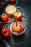Äpfel auf Stöcken mit Schokoladenbeschichtung und Zweigen auf rustikalem hölzernem Hintergrund Lizenzfreie Stockfotos