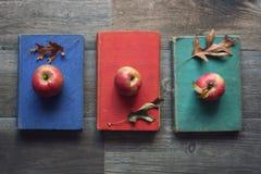 Äpfel auf Weinlese-Büchern mit Blättern über rustikalem hölzernem Hintergrund, Knollings-Konzept, horizontal Lizenzfreie Stockfotografie