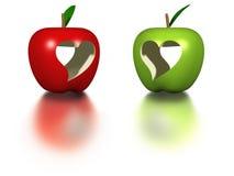 Äpfel des Valentinsgrußes Stockfotografie