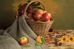 Äpfel in einem Korb mit Blättern Stockfotografie