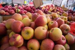 Äpfel am Markt des Landwirts Stockfoto