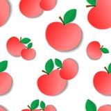 Äpfel mit Blättern auf einem weißen Hintergrund Nahtloses Muster Lizenzfreie Stockbilder