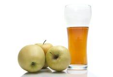 Äpfel mit Glas Saft Stockbild