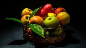 Äpfel mit Laub stockfoto