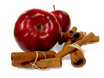 Äpfel mit Zimt-Steuerknüppeln Stockfoto