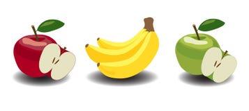 Äpfel und Bananen Stockfotos