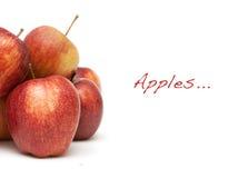 Äpfel und Beispieltext lizenzfreie stockfotos