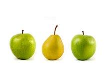 Äpfel und Birne Stockfoto