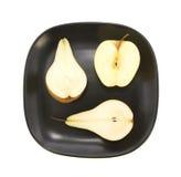 Äpfel und Birne halfs Stockfotos