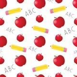 Äpfel und Bleistift-nahtlose Fliese Lizenzfreie Stockfotos