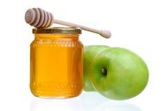 Äpfel und Honig Stockfotografie