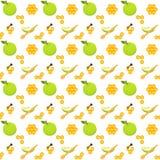 Äpfel und nahtloses Muster der Bienenwabe Stockfotografie