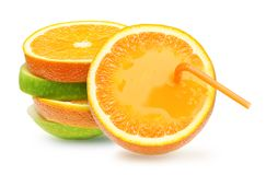Äpfel und orange Frucht. Stockbilder