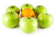 Äpfel und Orangen Stockbild