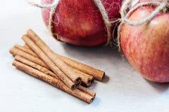 Äpfel und Zimt auf einem hellen Hintergrund lizenzfreies stockbild