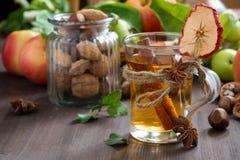 Äppelcider med kryddor i en glass kopp Arkivbild