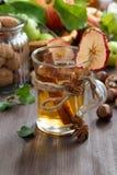 Äppelcider med kryddor i en glass kopp, lodlinje Arkivfoto