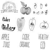 Äppeljuice- och äppledesignbeståndsdelar Arkivbild