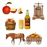 Äppeljuiceuppsättningvektor stock illustrationer
