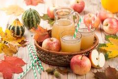 Äppelmust, äpplen och pumpor Royaltyfria Foton