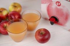 Äppelmust i exponeringsglas Royaltyfri Foto