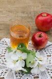 Äppelmust och röda äpplen på en trätabell fotografering för bildbyråer