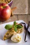 Äppelpaj med glass som dekoreras med vanilj, mintkaramellen och kanel på träbakgrund Ett läckert stycke av kakan med is Royaltyfria Bilder