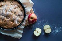 Äppelpaj och äpplen fotografering för bildbyråer