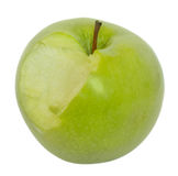 äpple biten green isolerad white arkivbild