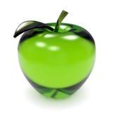 Äpple för grönt exponeringsglas Arkivbild