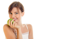 äpple - grön kvinna Arkivfoto