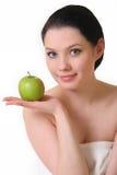äpple - grön nätt kvinna Arkivfoton