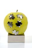 äpple - grönt pussel arkivfoto