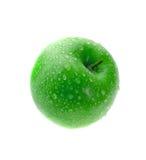 äpple - green isolerad våt white royaltyfria foton
