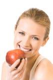 äpple isolerad kvinna royaltyfri fotografi