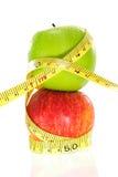 äpple isolerad mätande bandwhite Fotografering för Bildbyråer