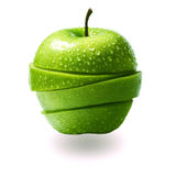 äpple klippta gröna skivor Arkivbild
