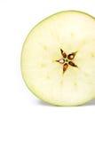 äpple klippta nya gröna isolerade skivor Royaltyfria Foton